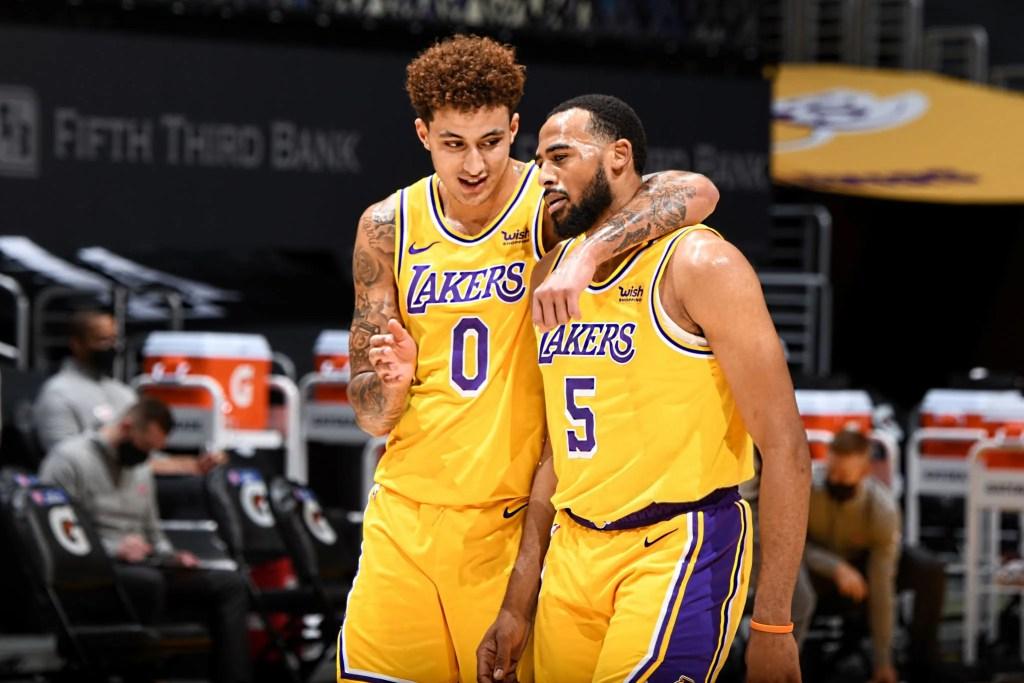 Kyle Kuzma and Talen Horton-Tucker, Los Angeles Lakers vs Detroit Piston