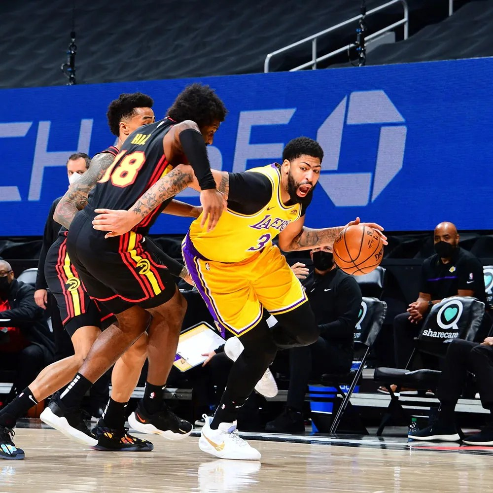 Solomon Hill and Anthony Davis, Los Angeles Lakers vs Atlanta Hawks