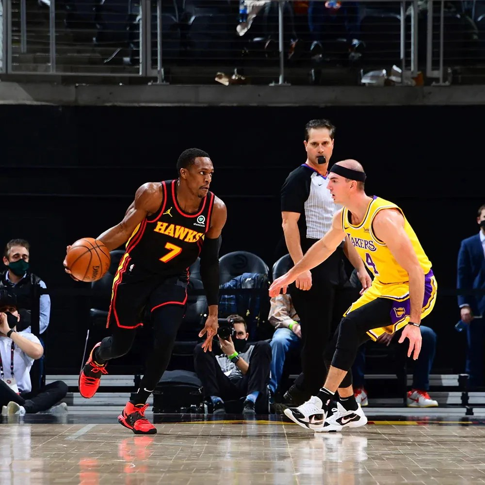 Rajon Rondo and Alex Caruso, Los Angeles Lakers vs Atlanta Hawks