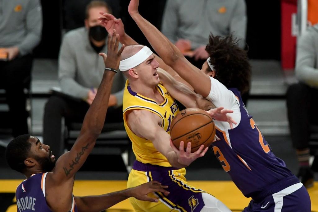 Alex Caruso and Cameron Johnson, Los Angeles Lakers vs Phoenix Suns