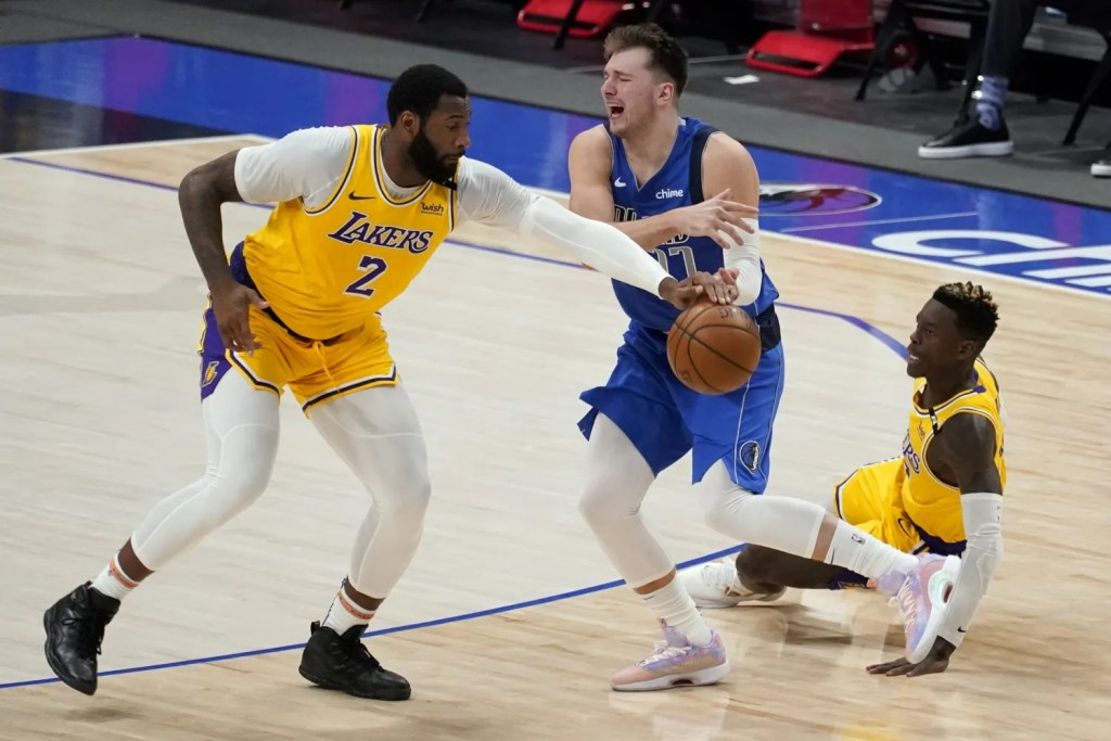 Andre Drummond, Dennis Schroeder and Luka Doncic, Los Angeles Lakers vs Dallas Mavericks