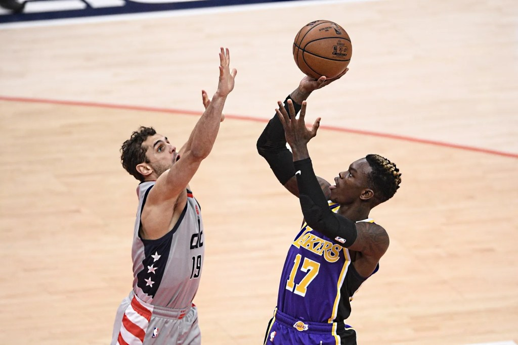 Dennis Schröder and Raul Neto, Los Angeles Lakers vs Washington Wizards