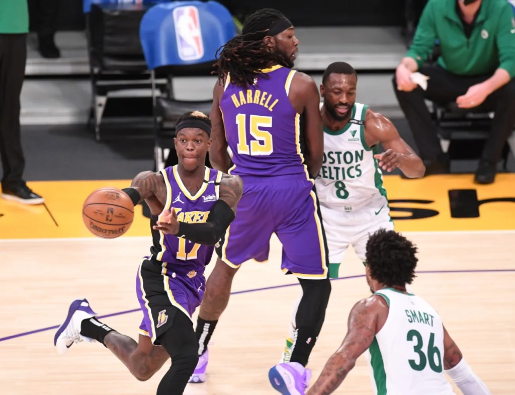Dennis Schroder and Montrezl Harrell, Los Angeles Lakers vs Boston Celtics