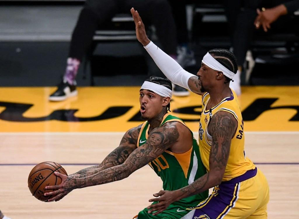 Kentavious Caldwell-Pope and Jordan Clarkson, Los Angeles Lakers vs Utah Jazz