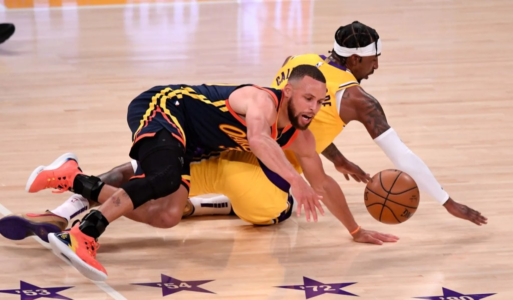 Stephen Curry and Kentavious Caldwell-Pope, Los Angeles Lakers vs Golden State Warriors