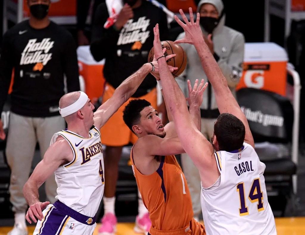 Devin Booker, Alex Caruso and Marc Gasol, Los Angeles Lakers vs Phoenix Suns