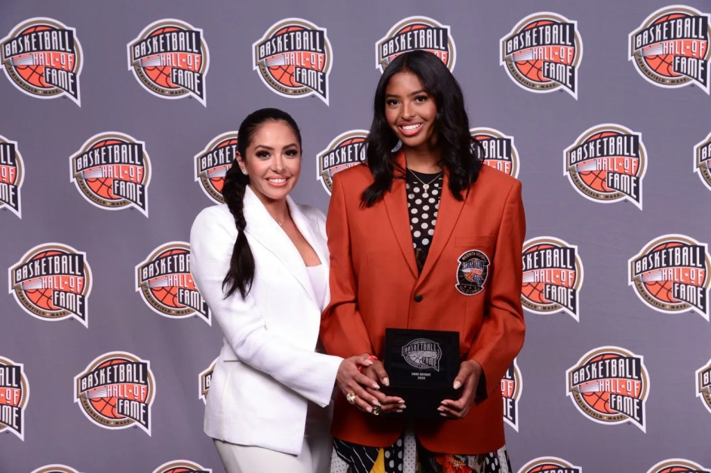 Vanessa and Natalia Bryant, 2020 Basketball Hall of Fame Enshrinement Ceremony on May 14, 2021 at the Mohegan Sun Arena at Mohegan Sun in Uncasville, Connecticut.