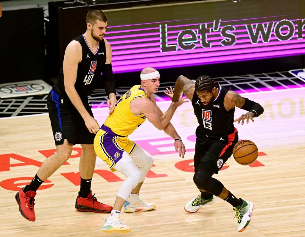 Paul George with Alex Caruso and Ivica Zubac, Los Angeles Lakers vs LA Clippers