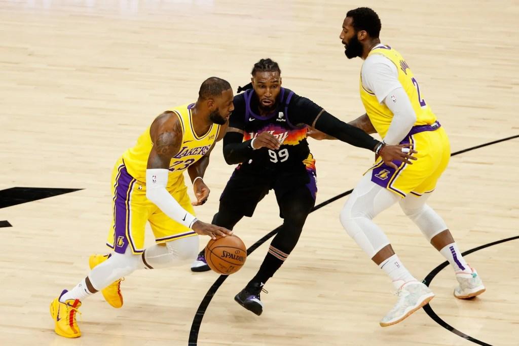 LeBron James, Jae Crowder and Andre Drummond, Los Angeles Lakers vs Phoenix Suns