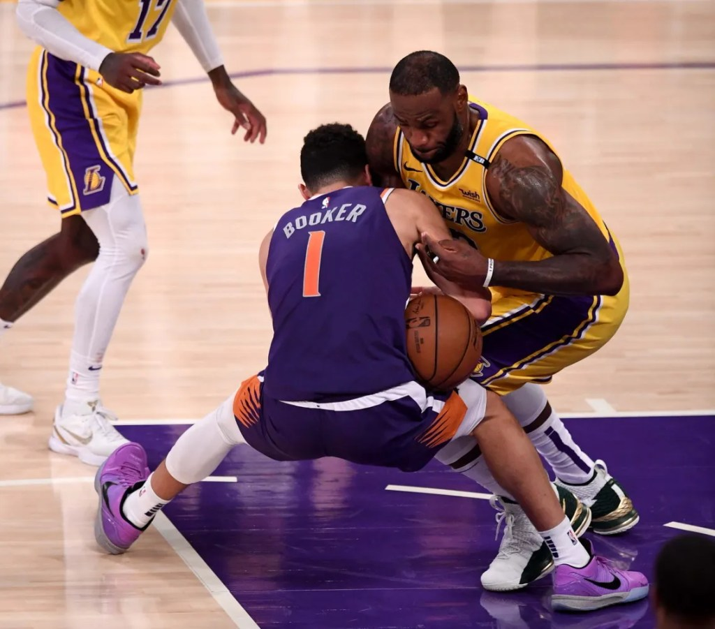 Devin Booker and LeBron James, Los Angeles Lakers vs Phoenix Suns