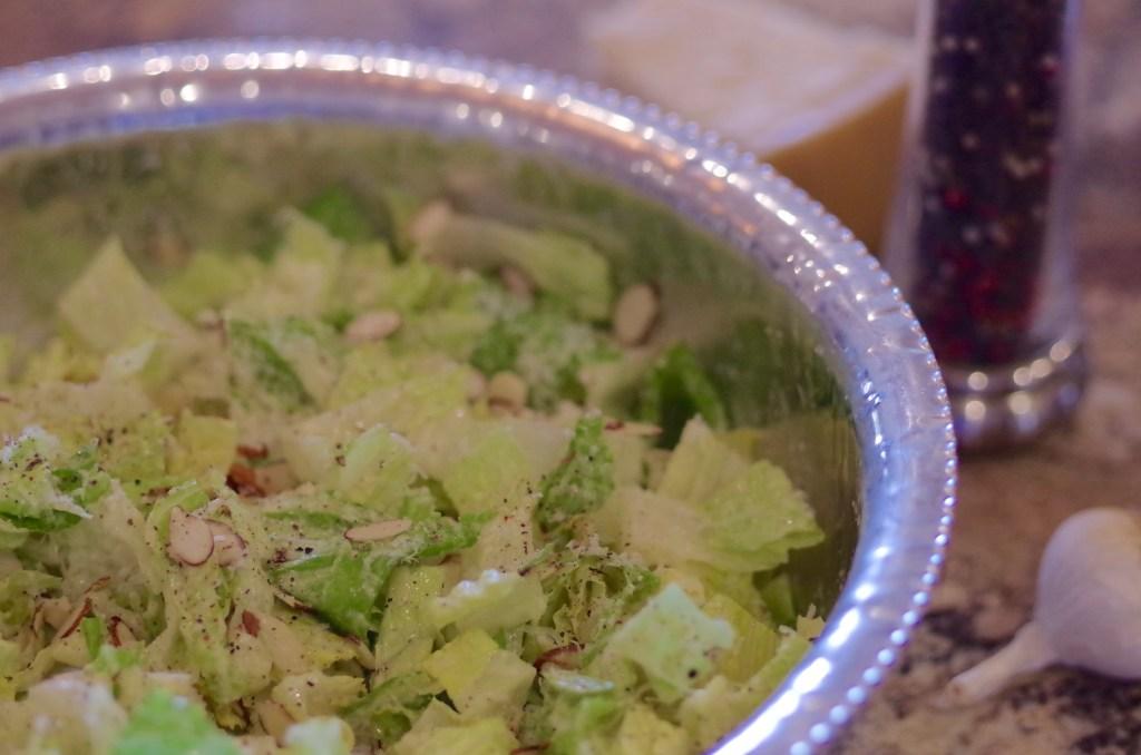 Garlic parmesan salad - So fresh, crisp, and crunchy! If you like a good Caesar salad, you'll love this one! | www.lakesidetable.com