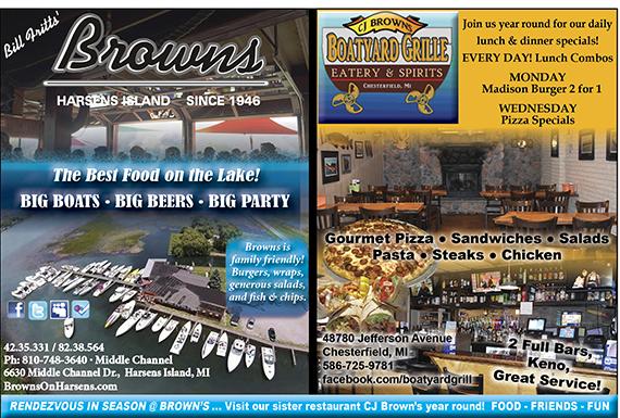Browns Bar Harsens Restaurants Amp Lodging Lake St Clair Guide