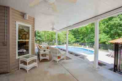Covered patio overlooking pool