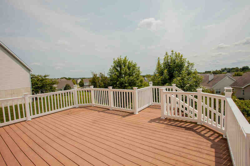 Composite deck overlooking backyard