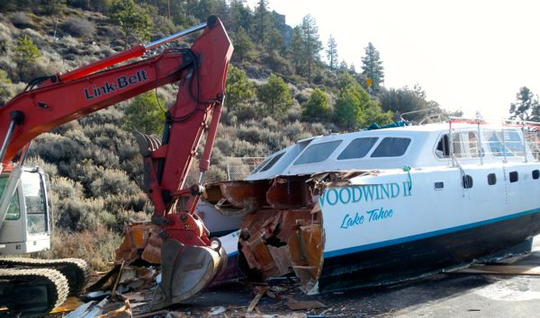 The Woodwind II on Jan. 8 was being cut into pieces before being hauled to a landfill. Photo/Kathryn Reed