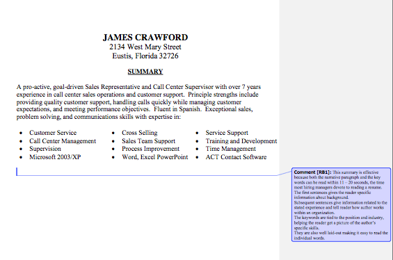 Resume Summary Statement Sample Lake Tech's Career Center