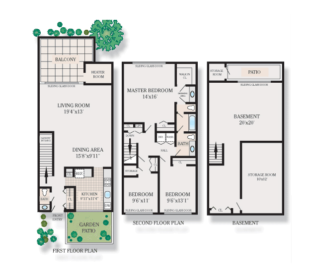 3 Bedroom Townhouse Floor Plans