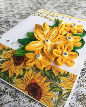 Quilling greeting cards | Yellow theme