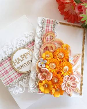 Paper quilling designs Card | Orange theme  card