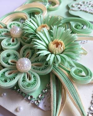 paper quilling birthday cards | Light Green theme