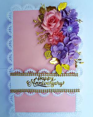 Pink theme  wedding anniversary Card with box