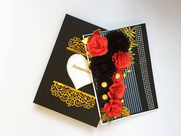 Black and red theme happy anniversary box card