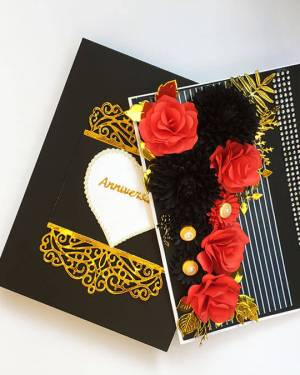 Black and red Theme happy anniversary Card with box