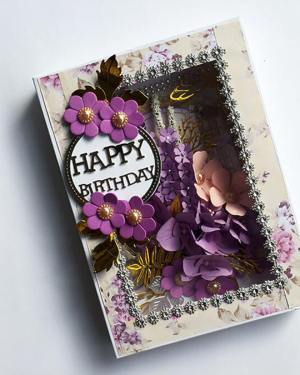 Happy birthday wish | Purple theme Birthday card with box