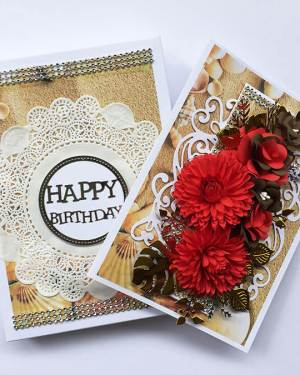 Happy Birthday Cards with box | Red and Brown Happy