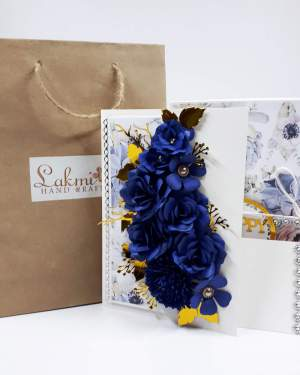 Greeting card for him | Blue rose flowers gift type box card