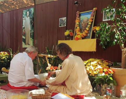 Offering at the Fire ceremony (Havan) for Swami Lakshmanjoo Mahasamadhi Celebration
