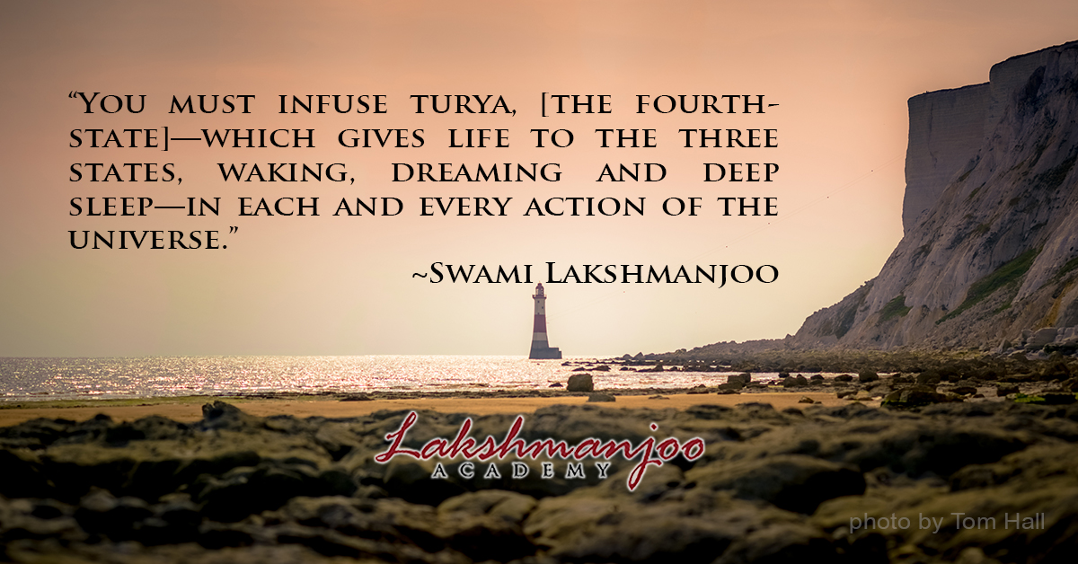 You must infuse Turya in each and every action of the world ~Swami Lakshmanjoo