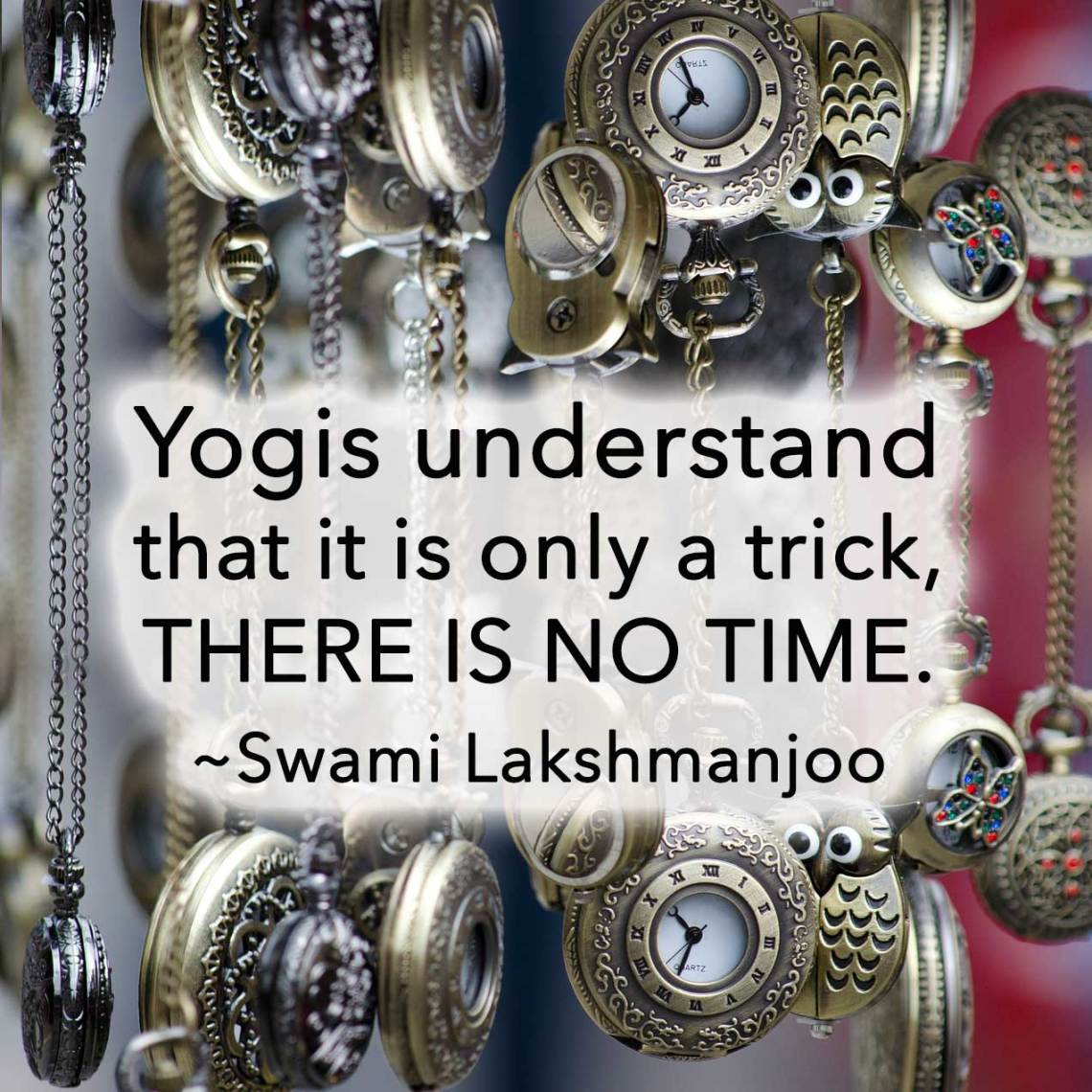 Yogis understand that it is only a trick, there is no time. ~Swami Lakshmanjoo