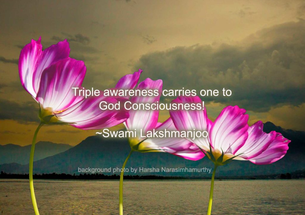 Triple awareness carries one to God Consciousness! ~Swami Lakshmanjoo