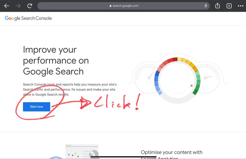 Google Search Console start page