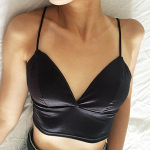 Sexy Satin Crop Tops Women Wireless Bralette