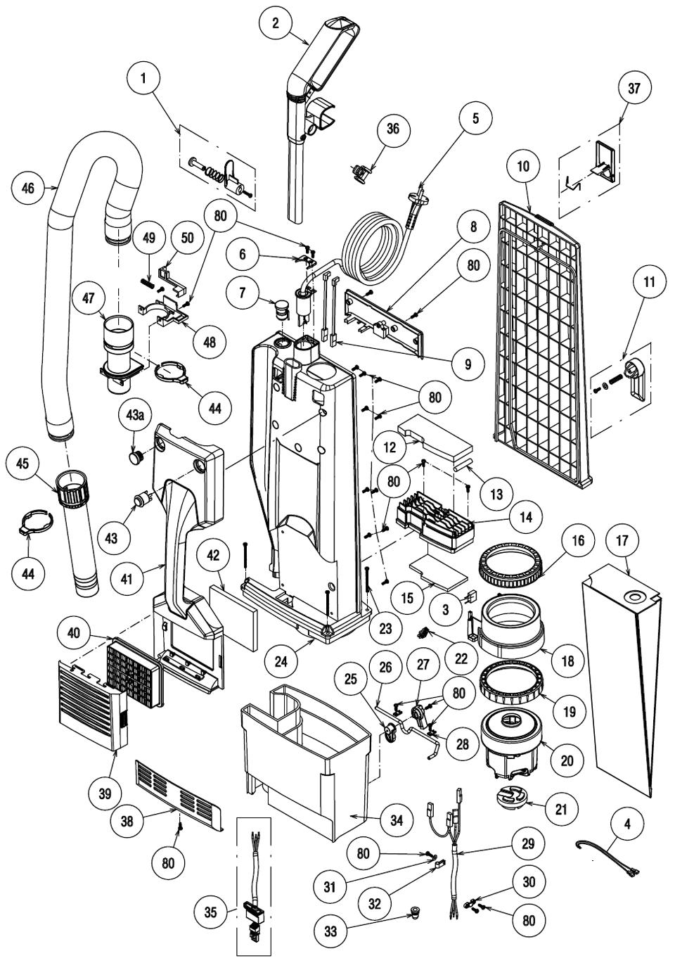 Liste de pièces pour Aspirateur vertical de 18