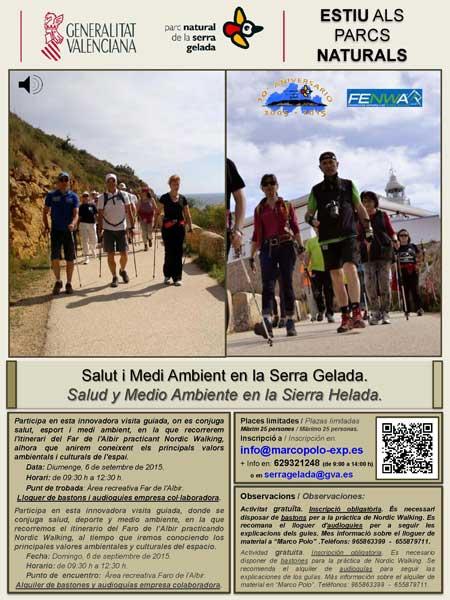 Ruta guiada a la Serra Gelada practicando Nordic Walking