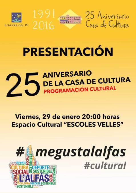 El Ayuntamiento de l'Alfàs presenta esta viernes la programación del 25 aniversario de la Casa de Cultura
