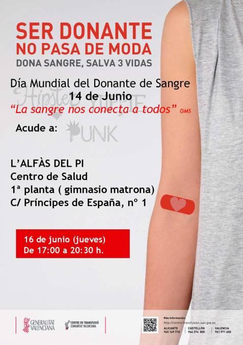 Sanidad hace un llamamiento a los vecinos de l'Alfàs del Pi para que acudan a donar sangre