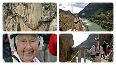 Solfried Gjesten de 91 años  senderista y residente en l'Alfàs del Pi acaba de completar el caminito del Rey .