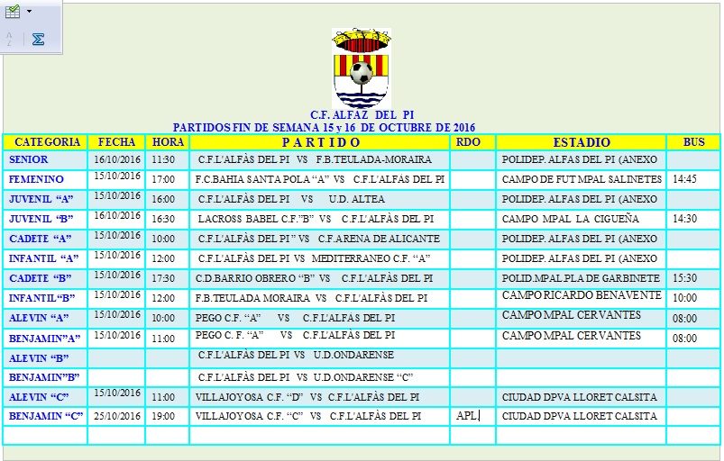 PARTIDOS DE FÚTBOL FIN DE SEMANA 15-16 OCTUBRE 2016