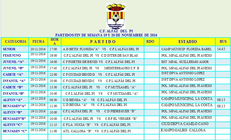 Partidos de Fútbol de los equipos de l'Alfàs del Pi para este fin de semana.