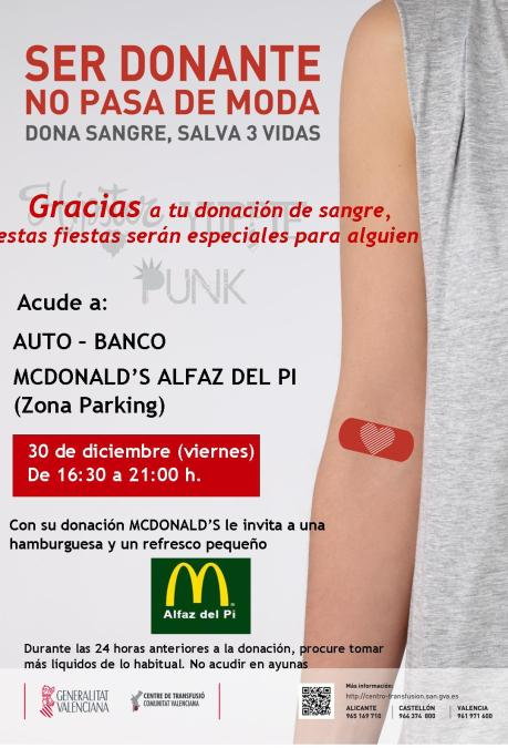 Jornada especial de donación de sangre en el McDonald's de l'Albir