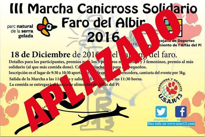 El temporal obliga al aplazamiento del III Canicross solidario de l'Alfàs del Pi, que se celebrará en enero