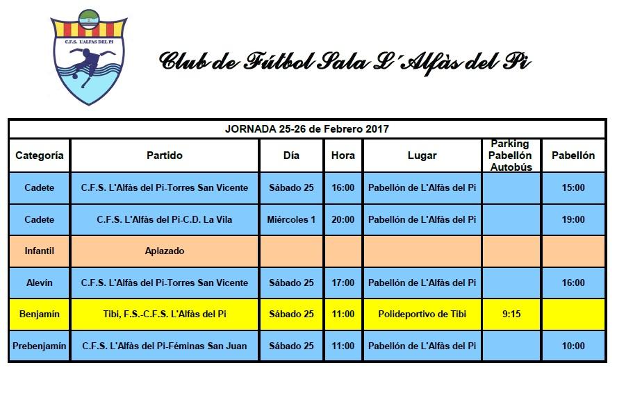 Partidos de Fútbol Sala para este fin de semana 25 y 26  de febrero
