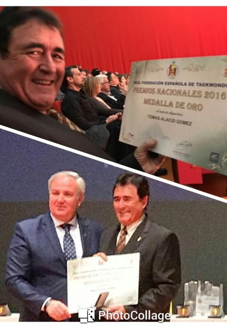 Tomas Alacid recibió el premio nacional del deporte en la gala del taekwondo celebrada en Cartagena.