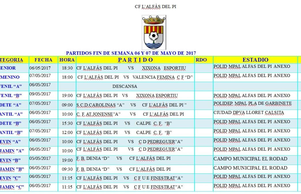 Partidos de fútbol de los equipos de l'Alfàs del Pi en este fin de semana