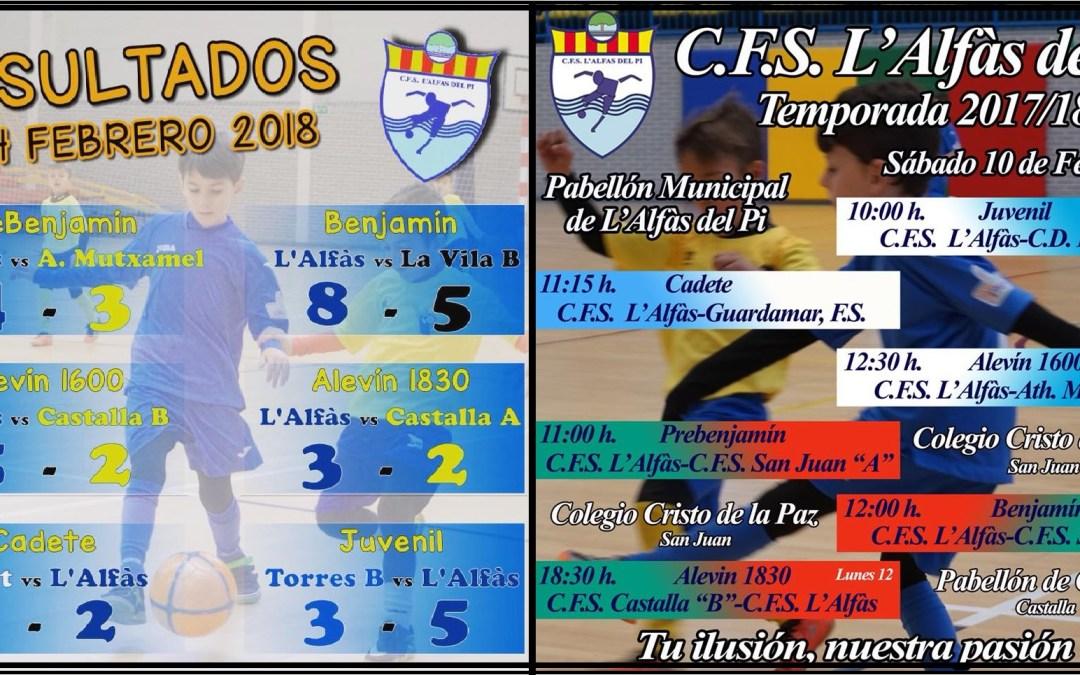 Resultados y próximos partidos de fútbol sala de CFS l'Alfàs del Pi.