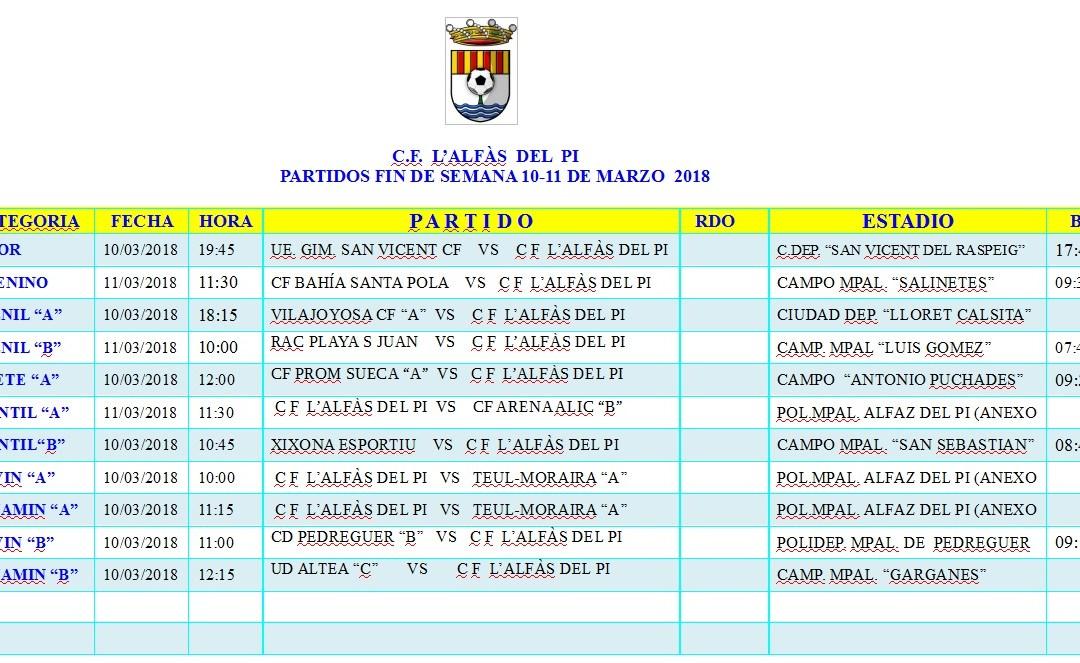 Partidos de fútbol de este fin de semana 10 y 11 de marzo